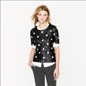 J.Crew black & white polka dot sequin top XXS